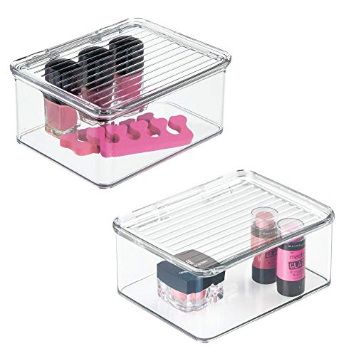 mDesign Stackable Bathroom Vanity Countertop Storage Cosmetic Organizer Box with Hinged Lid for Makeup, Beauty, Hair, Nail Supplies - 2 Pack - Clear