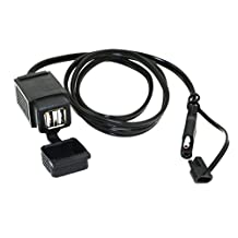 MOTOPOWER MP0609C 3.1Amp Waterproof Motorcycle Dual USB Charger Kit SAE to USB Adapter Cable Phone Tablet GPS Charger