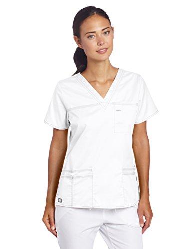 Dickies Scrubs Womens Gen Flex Junior Fit Contrast Stitch V-Neck Shirt