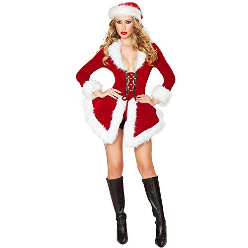 HUKOER Christmas Costumes Women's Cosplay SuitDressLingerie Sexy Santa Outfit Dress (styleF)