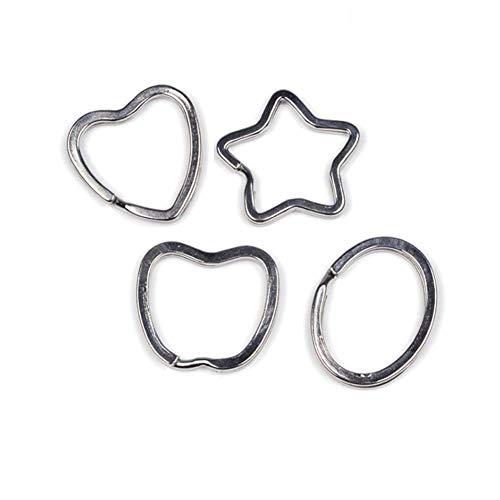 40 Pcs Stainless Steel Multi Shape Rings Heart Star Apple Oval Keyring Split Ring for Home Car Keys Bags Pendant Hardware DIY Accessories(4 Style)