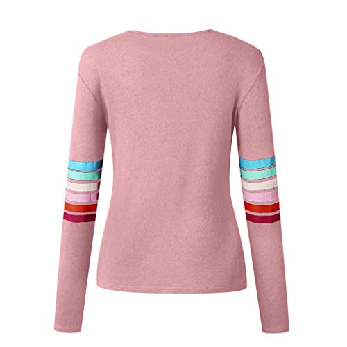 Manches Printemps Longues Col Rayures Femmes Blouses Rond Blouse Rose Hanomes Casual Zw7x5