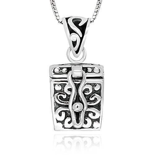 925 Sterling Silver Cross Prayer Box Locket Pendant Necklace 18