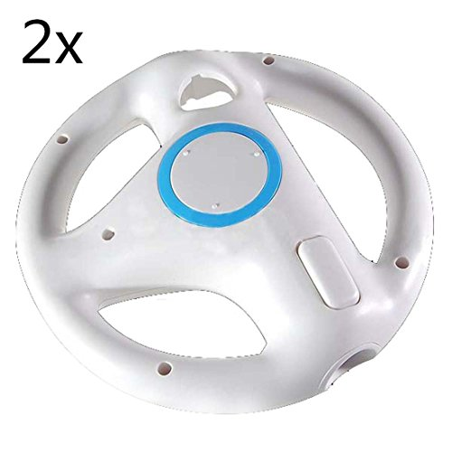 Wii Racing Game Steering Wheel (2pcs White Mario Kart Steering Wheel for Nintendo Wii)