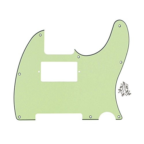 Bridge Pickup Mint - FLEOR 3-Ply 8 Holes TELE Scratch Front Plate Humbucker Style Pickguard for Telecaster Style Guitar Replacement,Mint Green