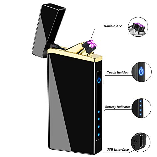 Dual Arc Plasma Lighter USB Rechargeable Atomic Lighter Windproof Flameless Electric Lighter for Cigar,Cigarette,Pipe,Update Touch Ignition Switch (Black ice-01)