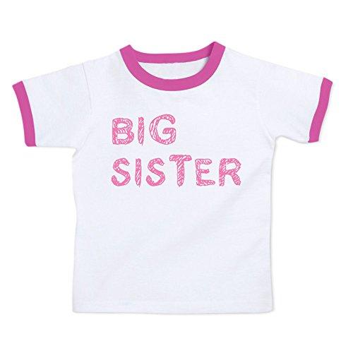 We Match! Big Sister Toddler & Kids T-Shirt (Raspberry Ringer, (Girl Kids Ringer T-shirt)