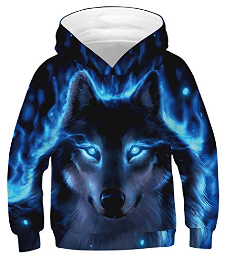 HaniLav Kids 4D Printed Novelty Pullover Hoodie Funny Sweatshirt for Boys Girls,Wolf,8-11Y