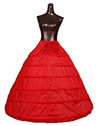 Beauty-Emily Petticoat Six Hoops Underskirt Drawstring Ball Crinoline Wedding Skirt Gowns Color Red, One Size