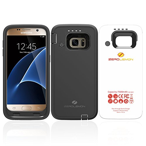 ZeroLemon Samsung Galaxy S7 7500mAh Rugged Battery Case with Soft TPU Full Edge Protection-Black(NOT FOR THE SAMSUNG GALAXY S7 EDGE OR S7 ACTIVE)