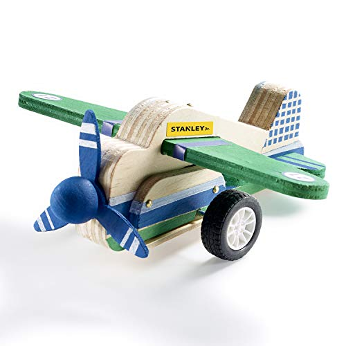 (Stanley Jr DIY Pull Back Airplane Toy - Pull Back Airplane Building Kit for Kids - Pull and Go Airplane Crafts for Kids - Easy to Assemble Wood Airplane Toy - Parts, Paint & Decals Included)