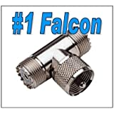 Falcon Products UHF Male to Double Female Pl259, T, Coax Connector