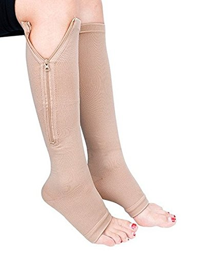 Zipper Compression Socks (2 Pairs), Open Toe Leg Support Medical Edema Varicose Veins Swollen Sore Knee Stockings