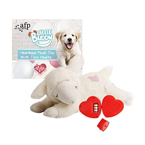 - ALL FOR PAWS AFP Snuggle Sheep Pet Behavioral Aid Toy Plush Toy (Double Heartbeat)