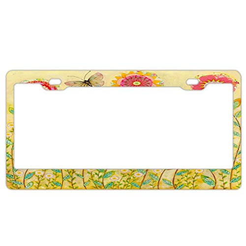 Folk Art Collage Flower Painting License Plate Frame Slim Aluminum License Plate Screws Kit to Fit Any Vehicles License Plate Frames 2 Holes and - Art Folk Collage