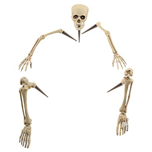Skeleton Hands And Feet (Halloween Haunters Life Size Realistic Groundbreaker Skeleton Bones Prop Decoration - Scary Plastic Body Parts Skull, Hands, Feet, Arms, Legs with Lawn Stakes - Graveyard Tombstone Haunted)