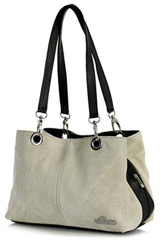 Trim Shopper (LiaTalia - Lush Italian Suede Womens Small Twin Top Multi Zip Pockets Shoulder Bag - Holly [Beige - Black Trim])