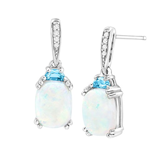 3 ct Natural Opal & Blue Topaz Drop Earrings with Diamonds in Sterling Silver