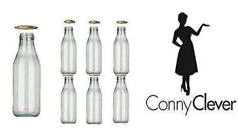 6 botellas de vidrio vacías Botellas de leche de cristal 200 ml/500ml/1000ml
