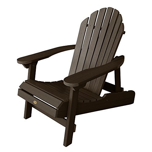Highwood Hamilton Folding and Reclining Adirondack Chair, Adult Size, Weathered Acorn (Weathered Finish Teak)