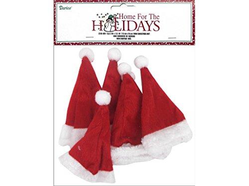 Small Santa Hats (Darice 3x5.5 Holiday Mini Christmas Hat)