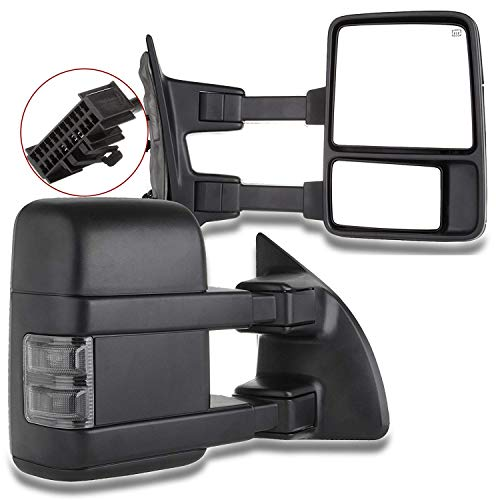 SCITOO Tow Mirrors fit 1999-2016 Ford F250 F350 F450 F550 Super Duty Pickup Manual LED Smoke Signals Lamps View Mirror Pair ()