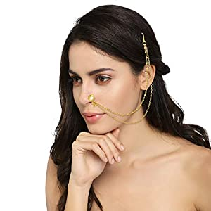 monde éblouissant Golden Brass Nose Pin with Double Chain Clip On Nose Ring Small Nath Kundan for Women