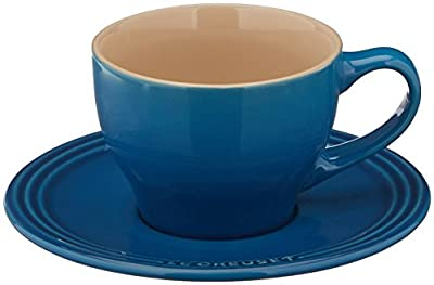 Le Creuset Stoneware Set of 2 Cappuccino Cups and Saucers, Marseille