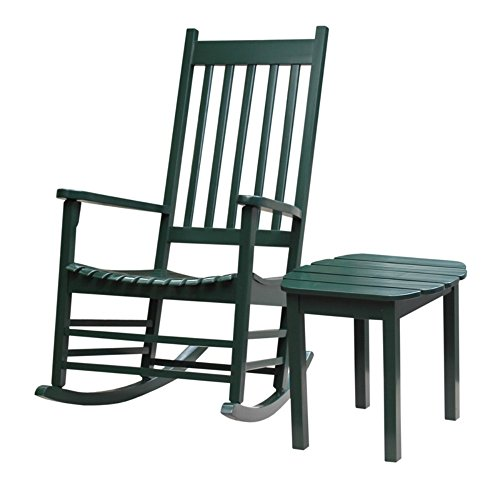 Porch Rocker with Side Table Made w/ Wood in Hunter Green (Rocker: 32W x 26.4D x 44.8H inches)(Table dimensions: 18.5W x 18.5D x 17.13H inches)