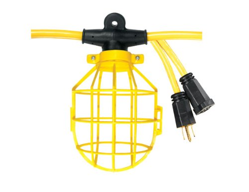 Voltec 08-00193 12/3 STW 5-Light Plastic Cage Light String, 50-Foot, Yellow (Construction String Lights)