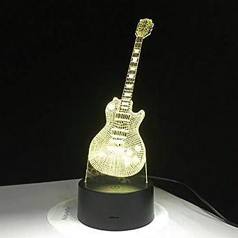 Guitarra Eléctrica Lámpara Led 7 Lámpara De Mesa Usb Colorida Bebé Noche De Dormir Luz Música Control Táctil Regalos Para Niños: Amazon.es: Iluminación