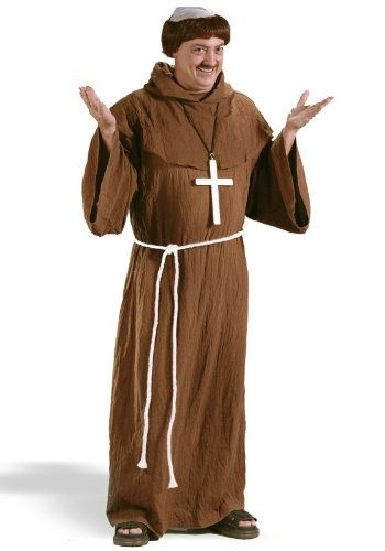 [Fun World Costumes Men's Medieval Monk Costume, Brown, One Size Fits Up To 6ft. 200 lbs] (Medieval Mens Costumes)