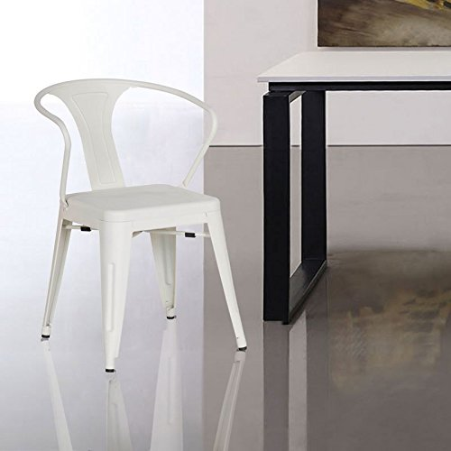 Adeco Metal Chair, Creamy White (Pair)