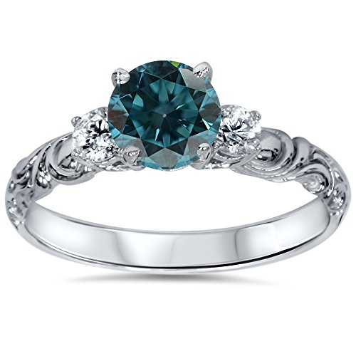 1 1/4 cttw 3-Stone Blue Diamond Vintage Engagement Ring 14K White Gold