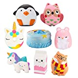 Grobro7 Random 6 Pack Kawaii Animal Slow Rising Squishy, Scented Soft Stress Relief Toy, Decorative Gift for Kids Party Toy, Including Cute Milk Cup, Penguin, Pink Hamster, Dolphins Cake, Cactus and Owl