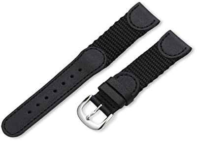Hadley-Roma Men's MSM866RA 190 19-mm Black 'Swiss-Army' Style Nylon and Leather Watch Strap from Hadley-Roma