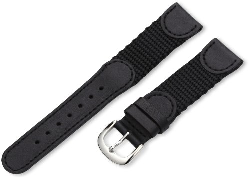 Hadley-Roma Men's MSM866RA 190 19-mm Black 'Swiss-Army' Style Nylon and Leather Watch Strap