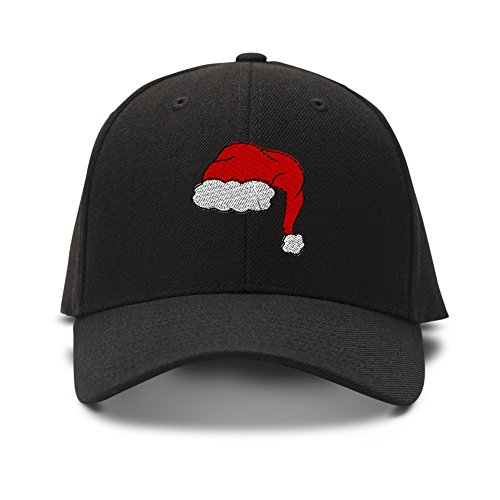(Speedy Pros Santa Merry Christmas Embroidery Adjustable Structured Baseball Hat Black)