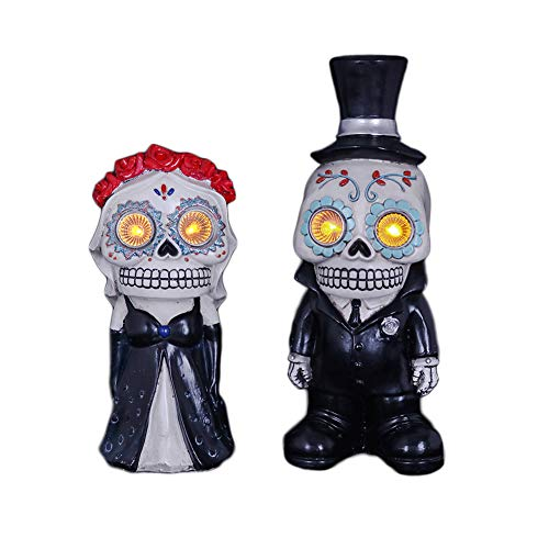V&M VALERY MADELYN Day of The Dead Light Up Wedding Decorations, Resin Bride and Groom Figurines, 2 Packs Solar Halloween Decorations Outdoor, 8'' and 10'' inch Tall by V&M VALERY MADELYN