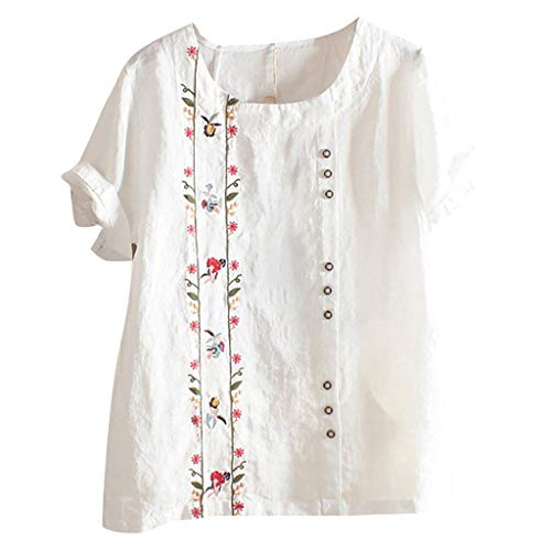 DEATU Linen Tops Blouses for Women Sale - Embroidered Floral Shirts - Bohemian Casual Tshirt Tops Plus Size - ()