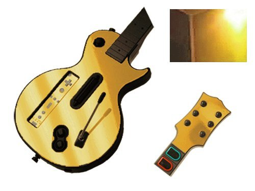 Gold Chrome Mirror Vinyl Decal Faceplate Mod Skin Kit for Nintendo Wii Guitar Hero III 3 (GH3) by System Skins (Guitar Decal Hero)