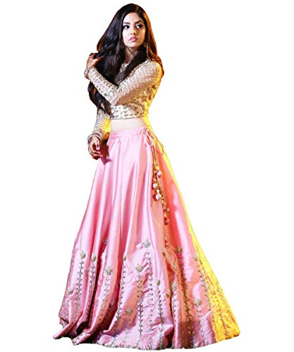 Rinaaz fashion New Pink Lengha Choli Indian Party Wear Lehenga Lengha Choli Pakistani Wedding Choli