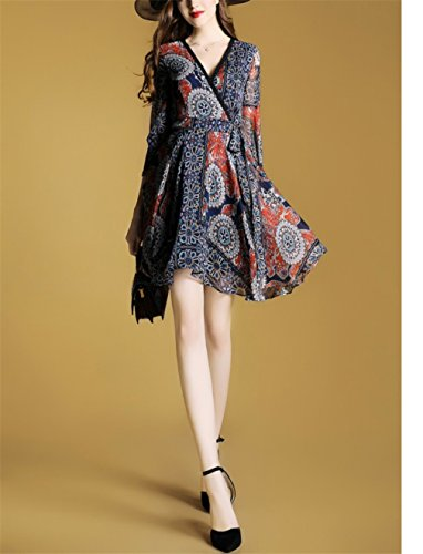 Dresses Neck Blue Sleeve Printed cotyledon Dress Women`S V Casual Ruffle 7wxC4q