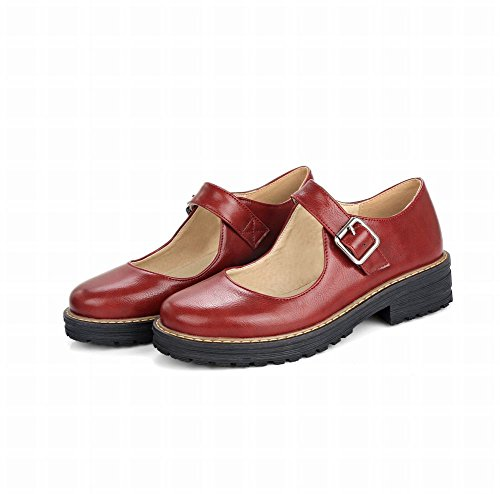 Mee Shoes Damen Niedrig Schnalle Plateau Pumps Rot