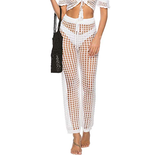 a8ce87e371 JJLIKER Womens Crochet Hollow Out Cover Up Pants Sexy High Waist Sheer Mesh Beach  Bikini Swimsuits Pants Black White at Amazon Women's Clothing store:
