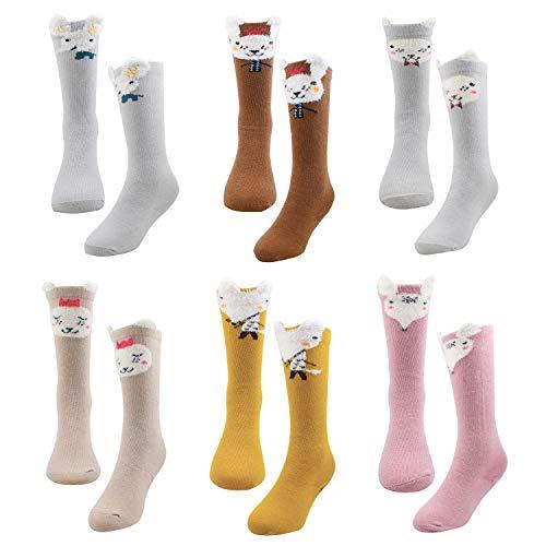 Bestjybt Baby Girl Boy Knee High Socks Infants Toddlers Kids Animal Socks Tube Stockings, 6 Pairs (Style 03, 6-12 -