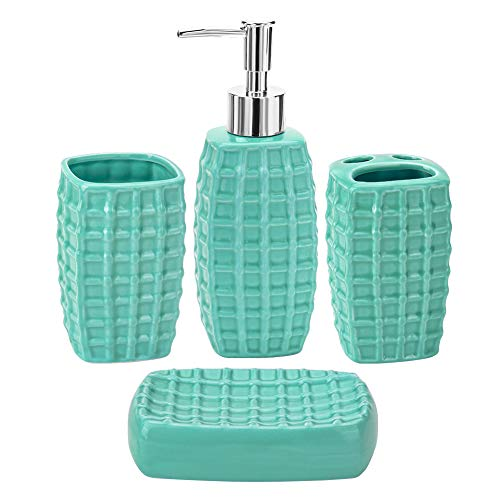 JOTOM Ceramic Bath Accessory Set,Luxury Bathroom Accessories Set - 4 Pieces with Decorative Hand Sanitizer Bottle,Toothbrush Cup,Toothbrush Holder,Soap Dish (Turquoise) (Bathroom Sets Luxury Accessories)