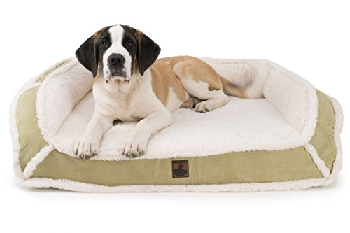 K9 Ballistics Orthopedic LUX Bolster Bed Cream Fur/Khaki Tan Micro - X-Large (38'' x 54'' x 5'') by K9 Ballistics