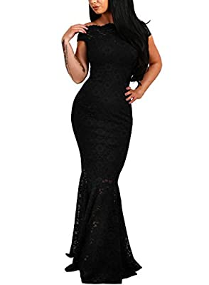 ZKESS Womens Sexy Off Shoulder Bardot Lace Evening Party Bodycon Fishtail Maxi Dress