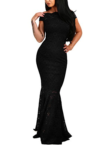 Elapsy Womens Sexy Off Shoulder Bardot Lace Evening Gown Fishtail Maxi Party Formal Dress Black Large (Black Formal Evening Gowns)